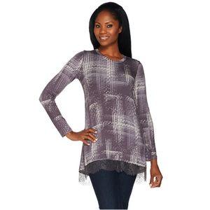 LOGO Lori Goldstein Printed Knit Top Lace Large